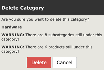 Deleting a Category