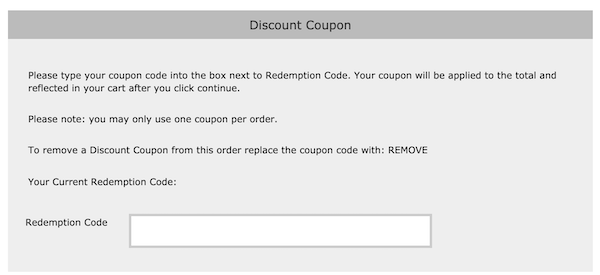 Discount Coupon Entry