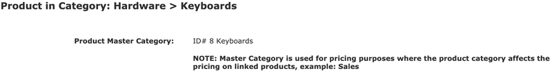 Master Category for a product